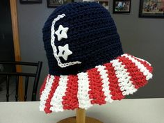 Stars and Stripes Sun Hat by JensNeedleKnows on Etsy, $18.00