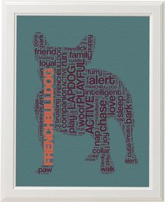 French Bulldog Text Art Pet Portrait 8x10 Canvas by WordyWonders, $15.00
