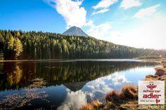 Traumhafte Herbstlandschaft in Nauders am Reschenpass Mount Rainier, Winter, Mountains, Nature, Travel, Fall Landscape, Sun Rays, Woodland Forest, Summer