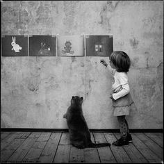 Photo series of a girl and her cat