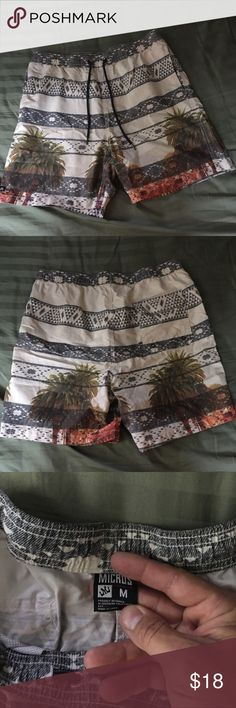 Swim shorts, Micros brand Aztec/Palm tree design These shorts are from tillys, worn one time, micros brand, Aztec/Palm tree design size medium. Perfect condition Micros Swim Hybrids