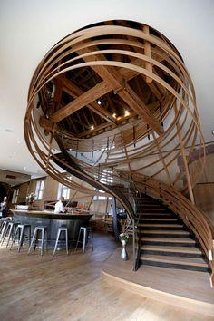 L'escalier du nouveau restaurant «Les Haras» à ouvert à Strasbourg dans les anciens haras de la ville, le 1 octobre.