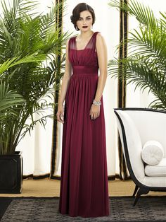 Vintage-inspired full-length maxi bridesmaid dress in burgundy