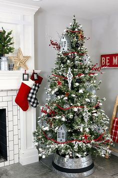 This Farmhouse Christmas Tree is perfect from the top down to the painted Galvanized Tree Collar. So easy to put together with our awesome tips and tricks! Beautiful Christmas Trees, Christmas Tree Themes, Cozy Christmas, Christmas Holidays, Holiday Decor, Christmas Movies, Christmas Cards, Christmas 2019, Christmas Mantles
