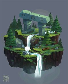 Waterfall Animation by Yog Joshi Environment Painting, Environment Concept Art, Environment Design, Animation In Photoshop, Crayons Pastel, Isometric Map, Waterfall Paintings, Landscape Concept, Game Concept Art
