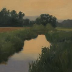 Evening Creek oil on canvas on loan Southern Living House, artist Megan Lightell Nature Paintings, Landscape Paintings, Gallery Website, Painting Workshop, Expressive Art, Still Life Art, French Art, Love Photography, Painting Inspiration
