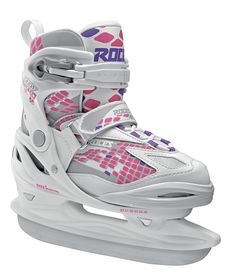 """• HQ Polypropylene shell • Memory Buckle, Velcro Strap, Laces MOODY ICE GIRL • Liner: anatomically padded, removable, EES Easy Entry System • Anatomical """"Roces Kid"""" footbed • Carbon steel hockey blade Visit shop.roces.com"""