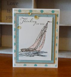 This card feature the Seaside Paper Packet, Seaside Greetings Stamp Set, Cocoa  Exclusive Inks Stamp Pad, CTMH Watercolour Pencils and Gold Sequins. Designed and created by Denise Tarlinton, CTMH Manager http://scrapstampshare.blogspot.com.au