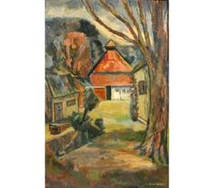 """Opal O\'Brien Shuman (American, deceased), \""""The Barn\"""", oil on  board.  30\"""" x 19 1/2\"""".  Signed lower right.  Self-taught Hoosier Salon artist from Anderson, Indiana."""