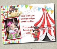 Carnival Circus Thank You Card  You Print  by ForeverYourPrints, $8.00