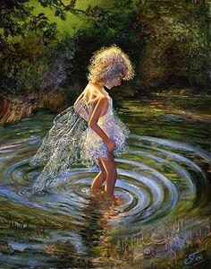 Fairy exploring underwater worlds, by Josephine Wall.