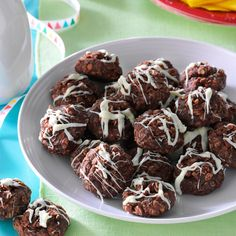 No-Bake Fudgy Coconut Cookies Recipe -My daughter works at a summer camp, so I send treats. Instead of a cookie jar we use a coffee can and call it the Wrangler Feeding Trough. Everyone asks for this cookie. Chocolate No Bake Cookies, Chocolate Cookie Recipes, Coconut Cookies, Chocolate Desserts, Healthy Cookie Recipes, Holiday Cookie Recipes, Camping Recipes, Healthy Cookies, Camping Meals