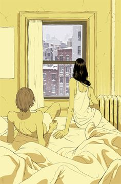 Tomer Hanuka's illustration of the 2011 Blizzard///Warm and cozy inside on a winter's day. Nice!