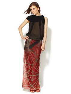 I can't afford this even on sale, but wow, this is gorgeous. Vera Wang Floral Vault Silk Organza Floor Length Skirt