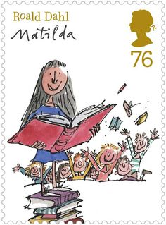Roald Dahl Stamps.   Matilda was the very first official chapter book that I read. I couldn't wait to read it. I started reading as soon as it was purchased and kept running into people while walking out of the store.