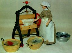 PDF Dolls House Miniature 12th Scale Victorian Mangle & Washing Room Scene to Make Craft Pattern
