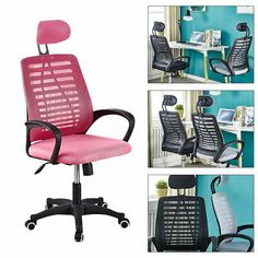 Gaming Chair Home Office Chair Desk Mesh Nylon Seat 360 Adjustable Swivel Pink #affilink Home Office Chairs, Home Desk, Computer Desk Chair, Gaming Chair, Ergonomic Chair, Recliner, Cushions, Furniture, Chair