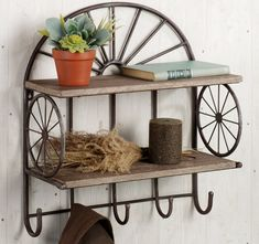 Rustic Style Dark Iron Floating Double Tier Wall Shelves With Hat Hook As Decorate White Vintage Living Areas Decor Designs Small Wall Shelf, Wall Shelf With Hooks, White Wall Shelves, Rustic Wall Shelves, Corner Wall Shelves, Wood Wall Shelf, Slat Wall, Wall Mounted Shelves, River House Decor