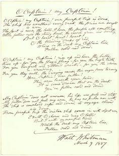 "A 1887 handwritten draft of Whitman's 1865 poem ""O Captain! My Captain!"
