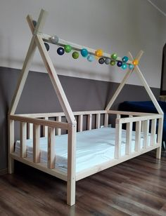 "CHILDREN TIPI BED ""KATE"" WITH SLATS ON THE LEGS NATURAL WOOD 13 DIMENSIONS HEIGHT 146CM - Mr & Ms Daisy"