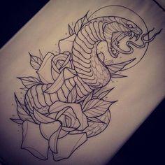 Resultado de imagen para snake tattoo neo traditional