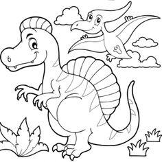 Coloriages à imprimer - Dinosaures Free Kids Coloring Pages, Dinosaur Coloring Pages, Coloring Pages To Print, Free Printable Coloring Pages, Free Printables, Dinosaur Drawing, Cartoon Dinosaur, Dinosaur Party, Dinosaur Images