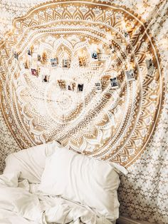 Lady Scorpio | @Ladyscorpio101 ☽☽ ladyscorpio101.com ☆ Tis the Season to be Decorate! Perfect Bedroom Decor for the Hippie at heart ♡ Shop Lady Scorpio for the ultimate stocking stuffers for the Holidays!  Gold Mandala Tapestry & copper fairy string lights