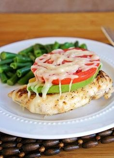 Avocado Chicken. Mmm. healthy and delicious! Bake the chicken breasts for 45 minutes at 300* Top each breast with a few slices of avocado, a slice of tomato, and some harvarti cheese, put it under the broiler until the cheese melts.