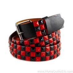 emo studded belts | Metal Pyramid Studded Leather Belt 2 Tone Checker Punk Rock Goth Emo