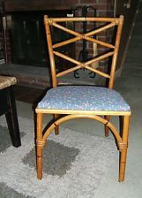 (4) VINTAGE HEYWOOD WAKEFIELD DINING ASHCRAFT BAMBOO RATTAN CHAIRS