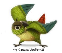 Daily Painting Conure War Dance by Cryptid-Creations on DeviantArt Feathered Dinosaurs, Parrot Pet, Parrot Toys, Crazy Bird, Conure, Tropical Birds, All Birds, Cute Illustration, Bird Art