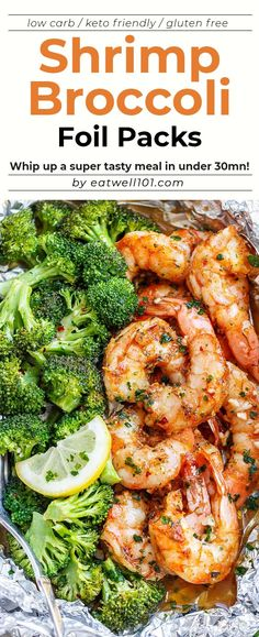 Shrimp and Broccoli Foil Packs with Garlic Lemon Butter Sauce - - Whip up a super tasty meal in under 30 minutes! - by Shrimp and Broccoli Foil Packs with Garlic Lemon Butter Sauce - - Whip up a super tasty m Fish Recipes, Seafood Recipes, Cooking Recipes, Healthy Recipes, Advocare Recipes, Chicken Recipes, Chicken And Shrimp Recipes, Recipe Chicken, Healthy Chicken