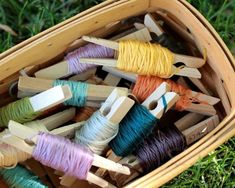 Embroidery floss organization with clothes pins!