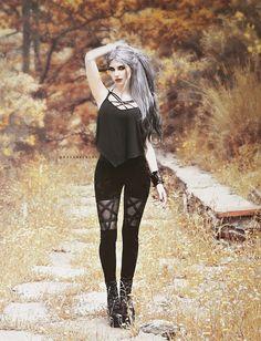 Mesh Pentagram Cut Out Skinny High Waist Pants – Corbeau Clothing Punk Girls, Hot Goth Girls, Gothic Girls, Nu Goth Fashion, Dark Fashion, Grunge Fashion, Victorian Goth, Gothic Steampunk, Gothic Models