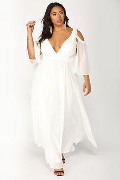 84f12aedd01 Debutante Ball Chiffon Dress - White. Bridesmaid Dresses Plus SizePlus  DressesSummer DressesBig Girl FashionCurvy Women ...