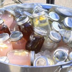 Party drinks, one way to reuse baby food jars!