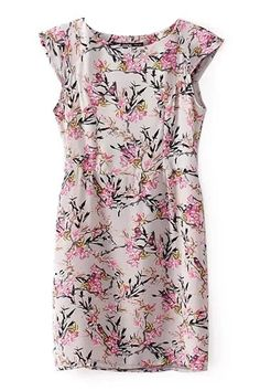 Bird and Floral Cap Sleeve Fitted Dress