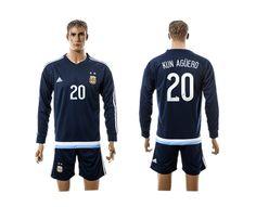 2015-2016 Argentina #20 KUN AGUERO Away Dark Blue Long Sleeve Soccer Jersey