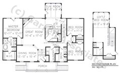 09698 Sea Crest Hall House Plan, 1st Floor Plan, Williamsburg Style House Plans, Ranch Style House Plans, Wheelchair Accessible House Plans
