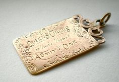 """I think that this is beautiful and unique!>>>""""Antique 1871 Circus Ticket Charm Pendant Victorian Gold"""" Etsy shop>>> treasurebooth Antique Treasures and Creative Supplies Victorian Gold, Victorian Jewelry, Antique Jewelry, Vintage Jewelry, Vintage Charm Bracelet, Charm Jewelry, Charm Bracelets, Just Dream, Love Charms"""