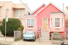 When I am a little old lady... I want to live in a pink house. Pink Houses, Little Houses, Small Houses, Exterior Design, Interior And Exterior, Kitchen Interior, Cute House, Cabins And Cottages, Everything Pink