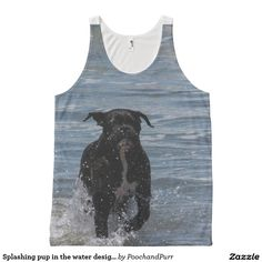 Splashing pup in the water design all over tank All-Over print tank top
