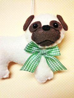 Felt Pug Ornament  Personalized Ornament  Pug Christmas by BeckyLynnCreations | Etsy