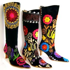 high top suzani boots with silk embroidery on black velvet - $275