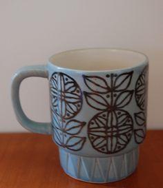 Retro Modern Blue Ceramic Mug and Partridge Mug #etsy