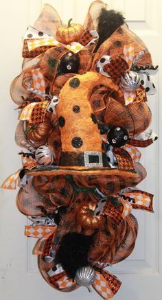 Glitzy Halloween Mesh Witch Hat Swag by southernchicbyle on Etsy, $65.00