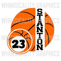 Digital File - Basketball With Small Basketball For Monogram with SVG, DXF, PNG Commercial & Personal Use