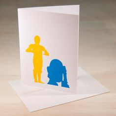 C3PO and R2D2 Hand Screen Printed Card by ChrisVoellerArt on Etsy