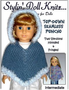 Easy poncho knitting pattern, fits American Girl and 18 inch Dolls
