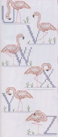 pink flamingo alphabet for cross stitch #3